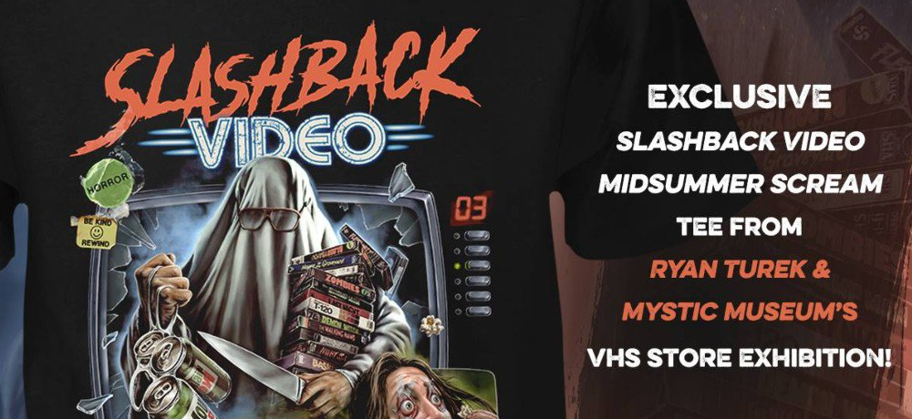 New Slashback Video Midsummer Scream T-Shirt from Fright Rags, Based on the VHS Store Exhibit from Ryan Turek and Bearded Lady's Mystic Museum